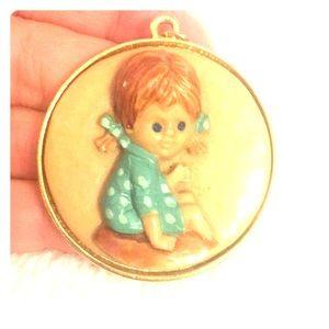 Fran mar 1972 girl resin medallion pendant.